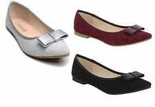 New Womens Ladies Soft Faux Suede Bow Ballet Dolly Flats Ballerinas Shoes