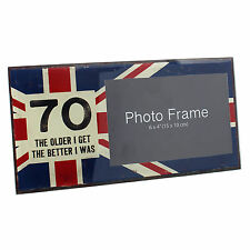 Union Jack Design -  70th Birthday Photo Frame Gift -  Hold 6