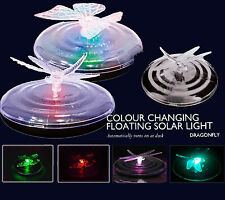 Solar Power Dragonfly Butterfly Colour Changing Garden Pond Floating LED Lights