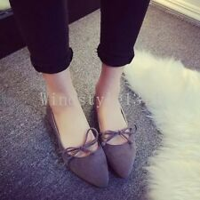 2016 Vogue Ladies Pointy toe Korean Lace up Bowtie shoes Flats Slip on Loafer UK