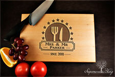 Fork and Knife with Stars - Personalised Wooden Chopping Board Engraved gift