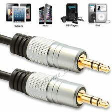 1M 1.5M 1.8M 2M Gold Plated 3.5mm Male To Male AUX Jack Stereo Audio Cable Lead
