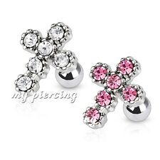 1PC. Cross Multi Gems 316L Surgical Steel Helix Cartilage Tragus Earring Barbell