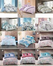 Reversible 100% Cotton Quilt Duvet Cover Bedding Set Bed Cover and Pillow Cases