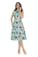 Ladies Voodoo Vixen Teal Peacock Floral Vintage Rockabilly Retro Swing Dress