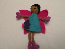 Artisan Handmade Felted Tooth Fairy Pillow Black Hair Blue Dress  Pocket New