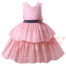 Baby Girls Spotted Tiered Dress Party Wedding Christening Toddler Infant Dresses