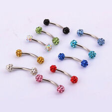 16G Surgical Steel CZ Ball Barbell Curved Eyebrow Rings Bar Tragus Ear Piercing