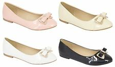 NEW WOMENS FLAT BALLET PUMPS DIAMANTE BOW SLIP ON WALKING DOLLY SHOES 3-8