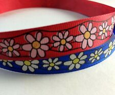 "Grossgrain ribbon Red or Blue Floral Ribbon 45 yards per roll wholesale 5/8"" 1/2"