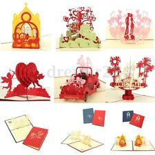 Greeting Anniversary Pop Up Stereo Gift Wedding Invitation 3D Card With Envelope