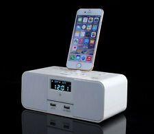 LCD Dual Alarm FM Radio Clock Dock Charge Station Bluetooth Speaker for iphone