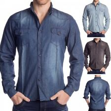 Mens denim shirt denim shirt long sleeve casual shirt jeans shell 100% cotton