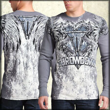 Throwdown Ghost Indian Chief Headdress Feather Wings UFC MMA Mens Thermal Silver