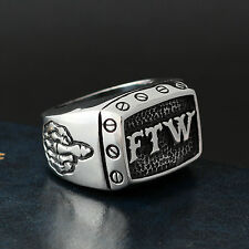 Men's The F World Screw Skeleton Middle Finger Outlaw Stainless Steel Biker Ring