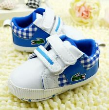 Baby Girl boy Toddle infant Blue Soft Sole Crib Shoes sneaker size 0-18 Months