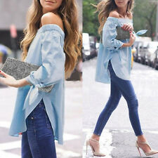 Fashion Lady Womens Sexy Off Shoulder Casual Long Sleeve Slim T-Shirt Top Blouse
