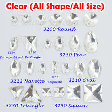 Glass All shape All Size Clear Crystal Flatback Sew On Rhinestones Beads