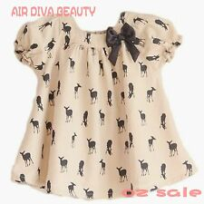 New Kids Girls Cotton Gorgeous Deer Short Sleeve Sweet Tops Shirt Mini Dress