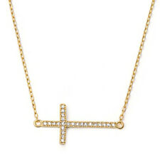Sideways Cross Necklace, Sterling Silver with Gold Plated, Christian Design Gift