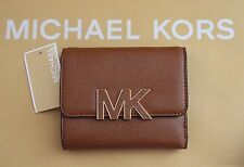 MICHAEL Michael Kors Florence Pebbled Leather Logo Trifold Wallet Black Brown