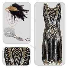 1920s Style Gatsby Vintage Look Charleston Sequin Flapper Dress Size 6 16 18 UK