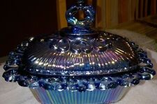 VINTAGE CARNIVAL BLUE GLASS CANDY DISH