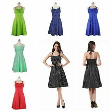 Vintage Summer Women Retro Evening Party Polka Dots Swing Housewife Pinup Dress