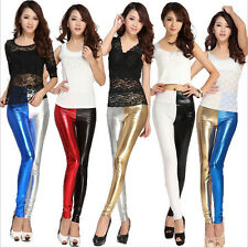 FASHION SEXY SHINY METALLIC FAUX LEATHER WET LIQUID STRETCH LEGGINGS SLIM PANTS