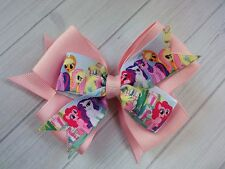 Boutique Double Hair Bow Pink My Little Pony Bow on Alligator Clip or Barrette