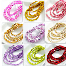 diy Colors 100pcs Rondelle Faceted Crystal Glass Loose Spacer Beads DIY 4mm