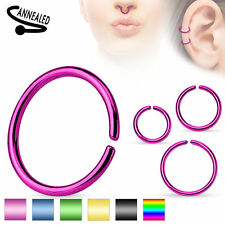 20G 18G 16G Titanium Anodized Seamless Annealed Cartilage Nose Hoop Ring