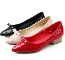 Sweet Ladies College Flat Pointed Toe Boat Casual Womens Faux Leather Shoes New