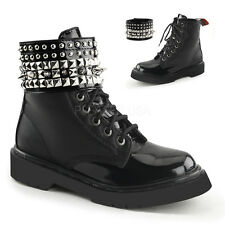 Demonia Rival-106 Black Studded Combat Boots - Gothic,Goth,Punk,Black,Boots,Buck