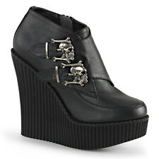 Demonia Creeper-306 Black Skull Buckle Wedge Shoes - Gothic,Goth,Punk,Black,Wedg