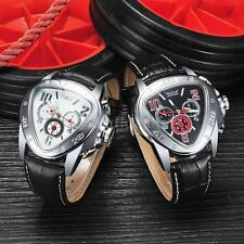 JARAGAR Men's Automatic Mechanical Triangle Dial Date Leather Wrist Watch Y1T7