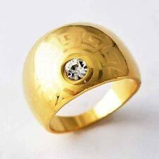 Fashion Solitair Clear CZ Arab Pattern Yellow GF Womens Ring Size 7 8 9