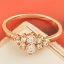 Sparkling 9K Rose Gold Filled Clear Cubic Zirconia Ladies Ring size 6 7