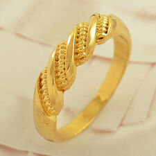 Fashion Yellow Gold Filled promise love Mens vintage Couple Ring size 7 8 9 10