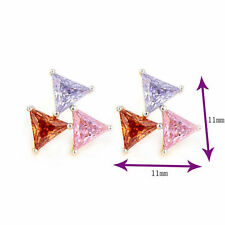 18K Gold Plated Clear Oval Mixed Color Cubic Zirconia Stud Earrings For Women