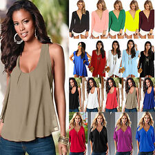 Plus Size Womens Summer Sexy Chiffon Tank Top T-shirt Ladies Casual Loose Blouse