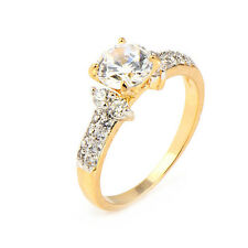 Fashion One Stone Gold Plated Clear Round Cubic Zirconia Promise Love Band Ring