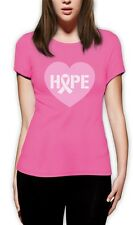 Hope Breast Cancer Awareness Heart Shaped Pink Ribbon Women T-Shirt Support
