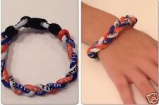 Braided Titanium Ionic Sports Orange Blue White Wristband Bracelet Energy Power