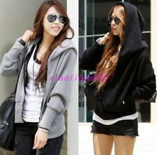 Korean Fashion Womens Casual Hooded Hoodies Batwing Sleeve Sport Jacket Coat