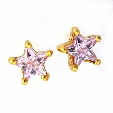 girls star  22K Yellow Gold Filled  pink/clear jewelry crystal stud earring