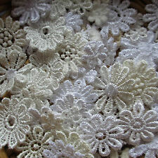 Assorted WHITE/CREAM 7-25mm Guipure Lace Daisy Motifs Sew On Flower Appliques