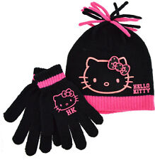 Girls Hello Kitty 2pc Beanie Winter Hat and Gloves set - 4 to 8 Years