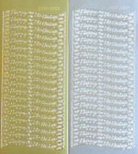 HAPPY BIRTHDAY Type 9 PEEL OFF STICKERS Wavy Flowers Filigree Cardmaking