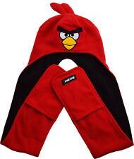 Childrens/Boys Angry Birds Winter Long Mittens Hat Red Bird